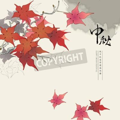 Plakat Chiński Święto Środka Jesieni w tle