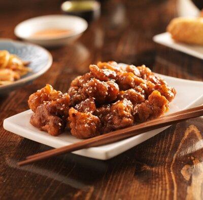 Plakat chińskiej sezam kurczaka pałeczkami
