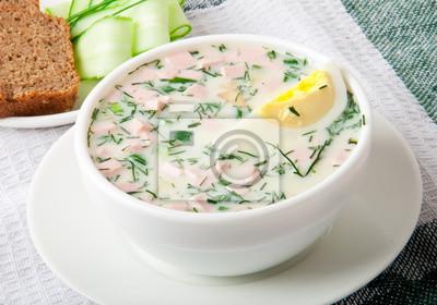 Chłodnik kefir warzyw z jajkiem i zieleni