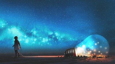 Plakat Chłopiec wyciągnął dużą żarówkę, w połowie zakopaną w ziemi, przed nocnym niebem z gwiazdami i kosmicznym pyłem, cyfrowym stylem sztuki, malarstwem illustraacyjnym