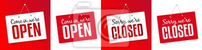 Plakat Chodź jesteśmy otwarte / zamknięte Niestety jesteśmy