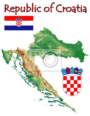 Plakat Chorwacja Europa Godlo Motto Symbol Map Na Wymiar