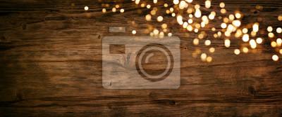 Plakat Christmas lights on old wood