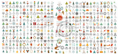 Plakat Christmas, New Year holidays icon big set. Flat style collection