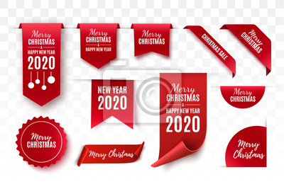 Plakat Christmas Tags set. Red scrolls and banners isolated. Merry Christmas and Happy New Year labels. Vector illustration