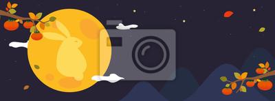 Plakat Chuseok festival banner vector illustration. Mid-Autumn festival header design. Persimmon tree with full moon