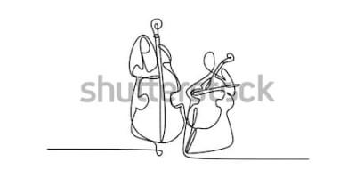 Plakat ciągłe rysowanie linii dwóch osób grających na klasycznych instrumentach muzycznych.