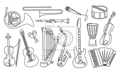 Plakat Ciągłe rysowanie linii zestaw ikon liniowych instrumentów muzycznych. Sprzęt orkiestrowy