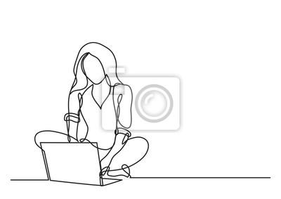Plakat ciągłego rysowania linii kobieta z komputera przenośnego