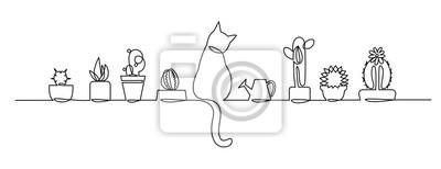 Plakat Ciągły jeden rysunek linii wektor ładny kaktus. Szkic czarno-biały Rośliny domowe z kotem i konewką na parapecie.