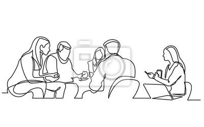 Plakat ciągły rysunek linii zespołu roboczego posiadającego spotkanie