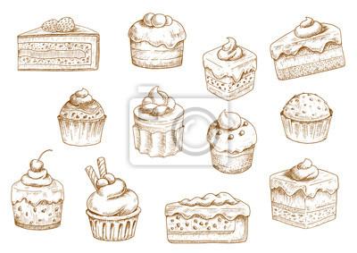 Plakat Ciastka i słodkie desery szkice