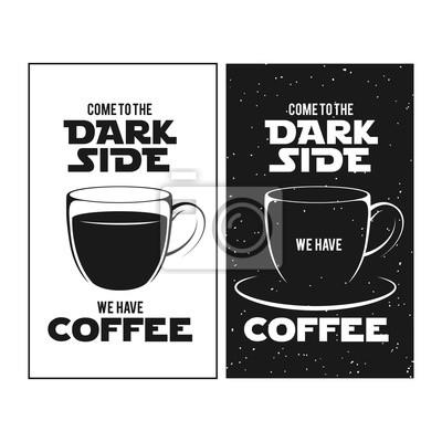 Plakat Ciemna strona druku kawy. Chalkboard rocznika ilustracji.