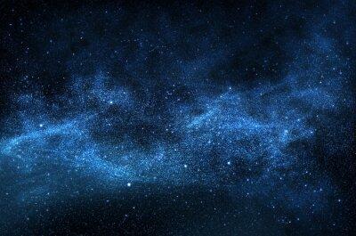 Plakat Ciemne nocne niebo z musujące gwiazd i planet, ilustracji