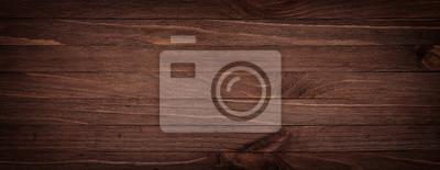 Plakat Ciemnobrązowa porysowana drewniana deska do krojenia. Drewno tekstury tła