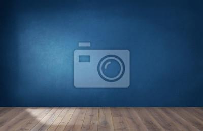 Plakat Ciemnoniebieska ściana w pustym pokoju z drewnianą podłogą