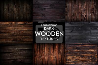 Plakat Ciemny drewniany tło lub tekstura z naturalnym wzorem, kolekcja