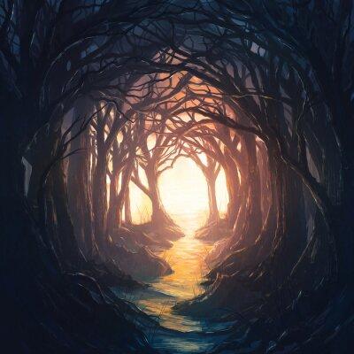 Plakat Ciemny las prowadzący do światła