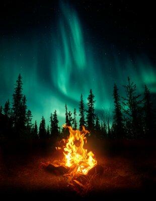 Plakat Ciepłe i przytulne ognisko na pustyni z drzewami leśnymi w tle i gwiazdami oraz Northern Lights (Aurora Borealis) rozświetlające nocne niebo. Kompozyt fotograficzny.