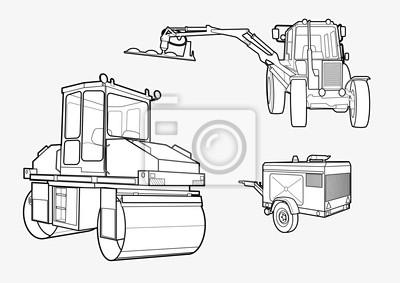 Plakat Ciężki walec wibracyjny i konstrukcji pojazdu