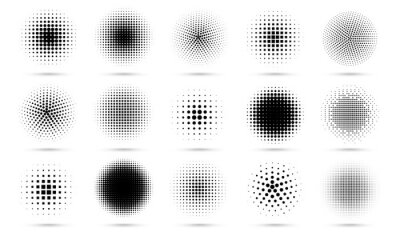 Plakat Circle halftone. Abstract dotted circles, round halftones geometric dots gradient and pop art texture. Dot spray gradation vector set. Illustration halftone gradient spotted, effect round