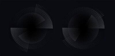 Plakat Circular spiral sound wave rhythm from lines white color on dark background.