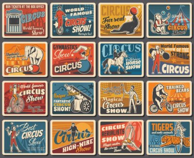 Plakat Circus show performers and animals retro banners. Animal tamer, clown on bicycle and strongman, human cannonball, magician and aerial acrobats, elephant, monkey and horse, tiger, bear and seal