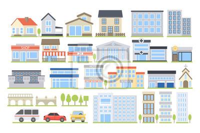 Plakat City buildings set.