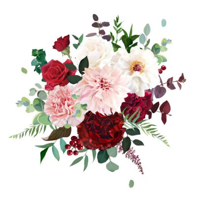 Plakat Classic luxurious red rose, pink carnation, dahlia, white peony, berry, burgundy astilbe