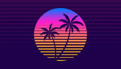Plakat classic retro 80s style tropical sunset with palm tree