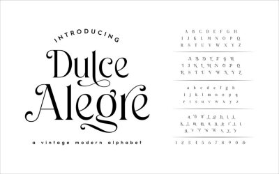 Plakat Classic Typography Minimal Fashion Designs. Typeface modern serif fonts and numbers. Elegant stylish alphabet letters font, ligatures, and number.