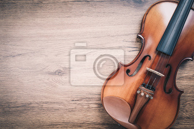 Plakat classical violin on wooden floor. music background