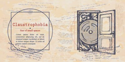Plakat Claustrophobia. Fear of small spaces phobia. Human brain and doors. Psychological vector illustration. Psychotherapy and psychiatry. Medieval medicine manuscript