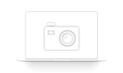 Plakat Clay laptop mockup isolated on white background. Vector illustration