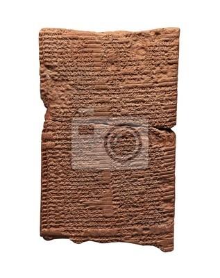 Plakat Clay tablet pismo klinowe starożytnego Sumeru lub A