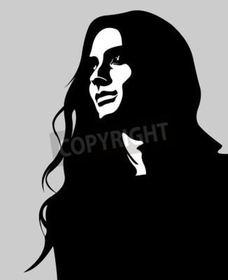 Plakat Clipart niski klucz portret kobiety melancholijny długimi włosami patrząc w górę. Łatwe do edycji ilustracji wektorowych z warstwami.