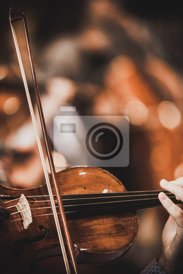 Plakat Close-up of part of the symphony masterpiece - Section for strings, violins and cellos