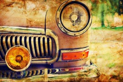 Plakat Close-up zdjęcie reflektorów samochodowych retro