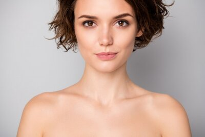 Plakat Closeup photo of beautiful naked lady bobbed short hairstyle positive emotions after spa salon procedures perfection concept isolated grey color background