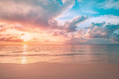 Plakat Closeup sea sand beach. Panoramic beach landscape. Inspire tropical beach seascape horizon. Orange and golden sunset sky calmness tranquil relaxing sunlight summer mood. Vacation travel holiday banner