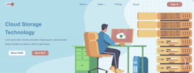 Plakat Cloud Storage Technology web banner concept. Employee works in server room, technical engineer maintains service landing page template. Vector illustration with people characters in flat design