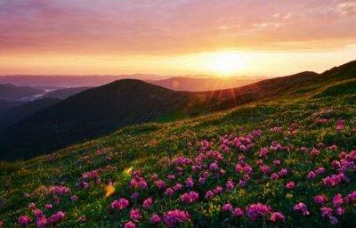 Plakat Cloudly sky. Majestic Carpathian mountains. Beautiful landscape. Breathtaking view.