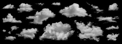 Plakat Clouds set isolated on black background. White cloudiness, mist or smog background. Collection of different clouds.