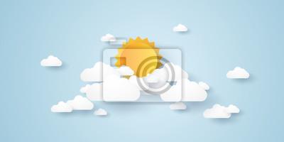 Plakat Cloudscape, niebieskie niebo z chmurami i słońcem, papierowy sztuka styl
