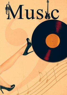 Plakat Clubsound party - retro plakat muzyka ze starych płyt winylowych