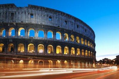 Plakat Coliseum w nocy. Rzym - Włochy