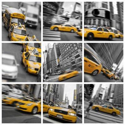 Plakat Collage Carré taksówki w Nowym Jorku - USA
