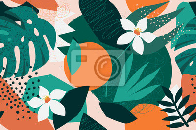 Plakat Collage contemporary floral seamless pattern. Modern exotic jungle fruits and plants illustration in vector.
