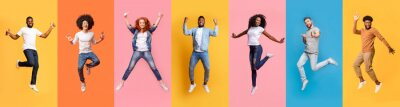 Plakat Collage of cheerful jumping multinational people in air on color background, panorama