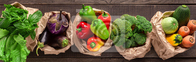 Plakat Collage of eco friendly and organic vegetables in paper bags
